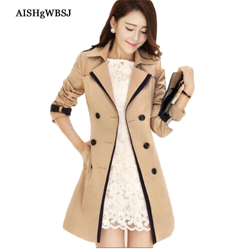 S 3XL 2016 New Double Breasted Turn down Collar Contrast Color Belt Trench Coat Spring Autumn Women Long Slim Outwear ZS825
