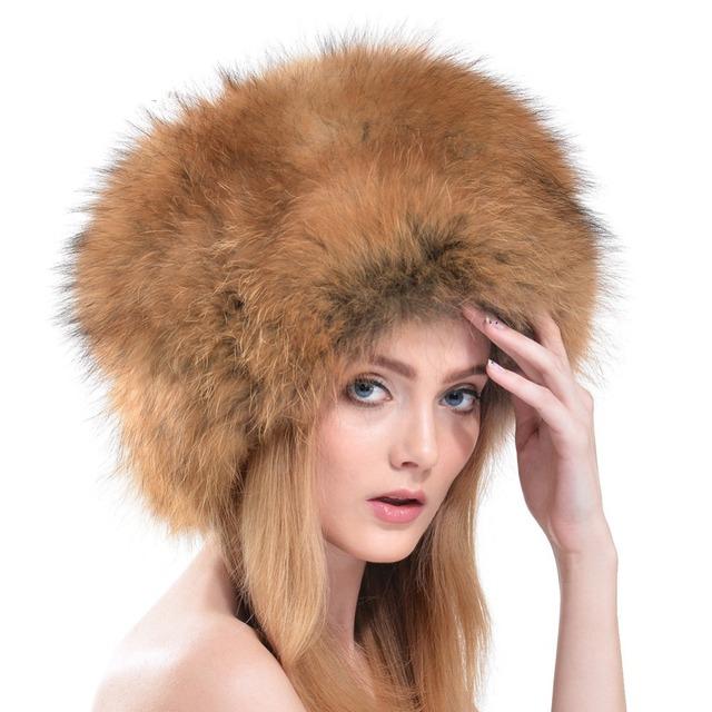 2016 Winter Fashion Silver Fox Sombrero De Piel Casquillo Al Aire Libre Nieve Cálida Piel De Zorro y Mapache Mongolia Sombrero Redondo LH311