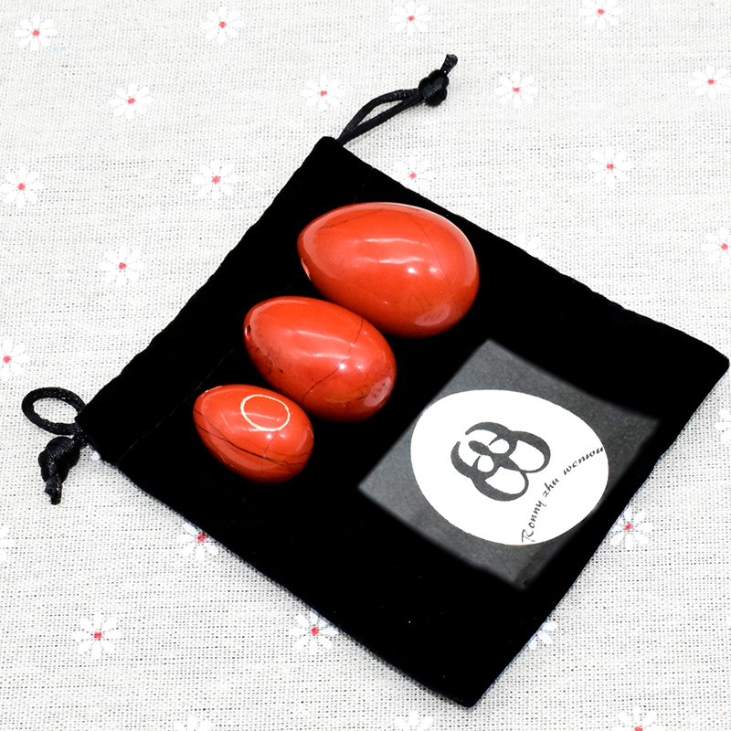 Ronny Zhu Wenwu Yoni Eggs  Drilled Red Jasper Natural Jade Egg for Women Kegel Exercise Ben Wa Balls Massage & Relaxation