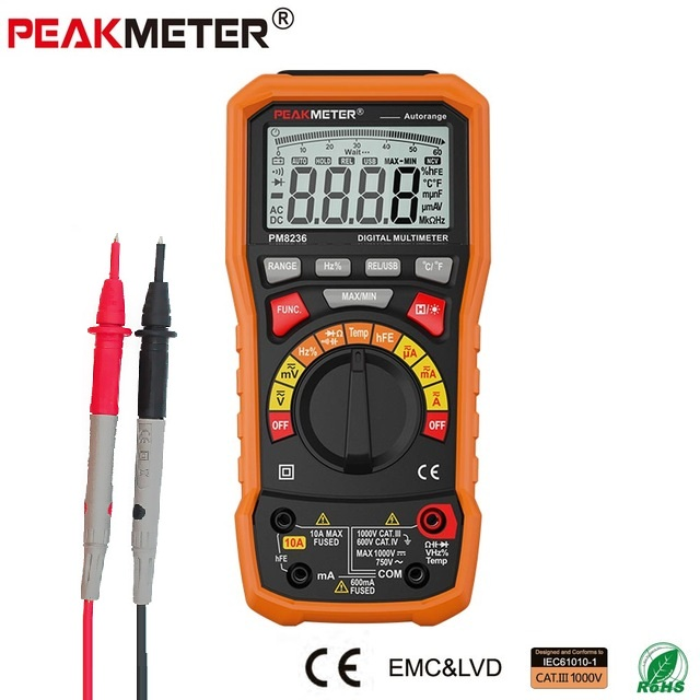 2018 HOT Digital Multimeter tester Auto Range multimetro Temperature Tester and Data Logger 6000 counts PEAKMETER MS8236 цена