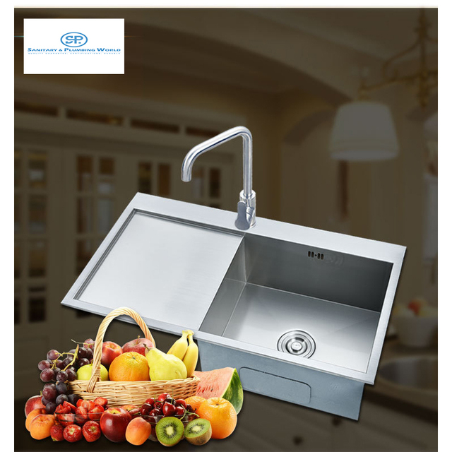Stainless Steel Kitchen Tap Single Kitchen Sink Square 34\'\'X19\'\'X9 ...