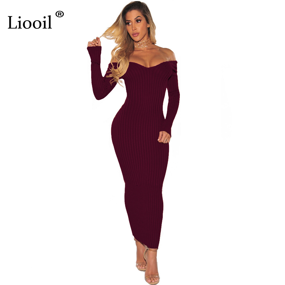 Liooil Winter Knitted Maxi Dress Off Shoulder Long Sleeve Strapless Bodycon Sweater Dress Ribbed Sexy Plus Size Women Dresses french connection one shoulder maxi dress в москве