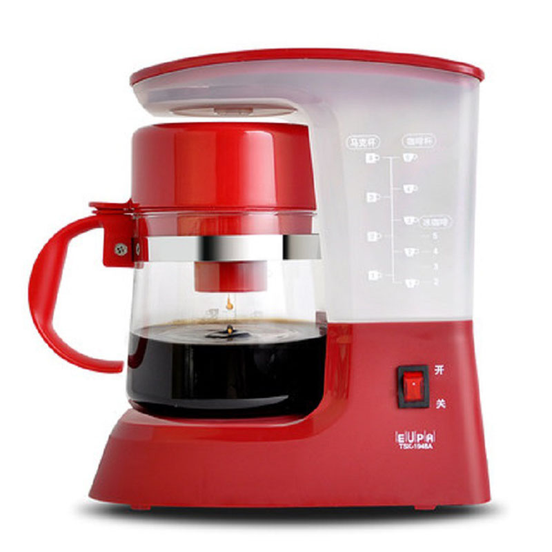 Drip Coffee Maker Turkish American Cafe Machine Automatic 0.6L Mini Portable Home Milk Tea Cafetera Electrica Red White 220V coffee maker uses the american drizzle to make tea drinking machine