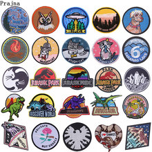 zefal shield f Prajna Jurassic World Patches For Clothing Movie Shield Alien Embroidered Iron On Patch Cartoon Cat Patches Fabric Diy Badges F
