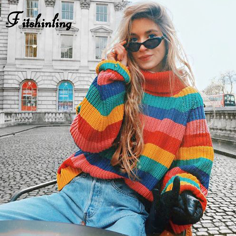 Fitshinling 2018 Winter Turtlenecks Sweaters For Ladies Rainbow Stripes Trend Pullover Feminine Knitted Jumper Woman's Sweater Scorching