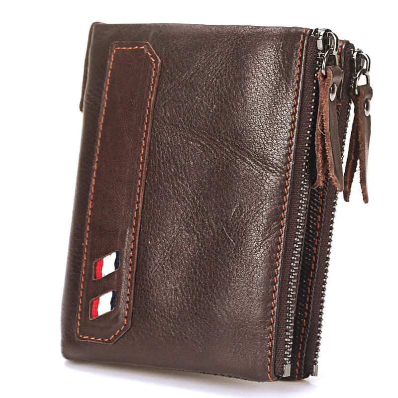 Vintage Genuine Cow Leather Men Wallet Coin Purse Wallets with Coin Pocket Dual Zipper Short Small Credit Card Holder Men Purse williampolo men wallets male purse genuine leather wallet with coin pocket zipper short credit card holder wallets leather