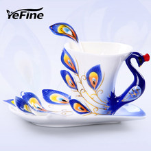 YeFine Ceramics Creative Design Peacock Coffee Cups Ceramic 3D Enamel Porcelain Cup with Saucer and Spoon Coffee Tea Sets(China)