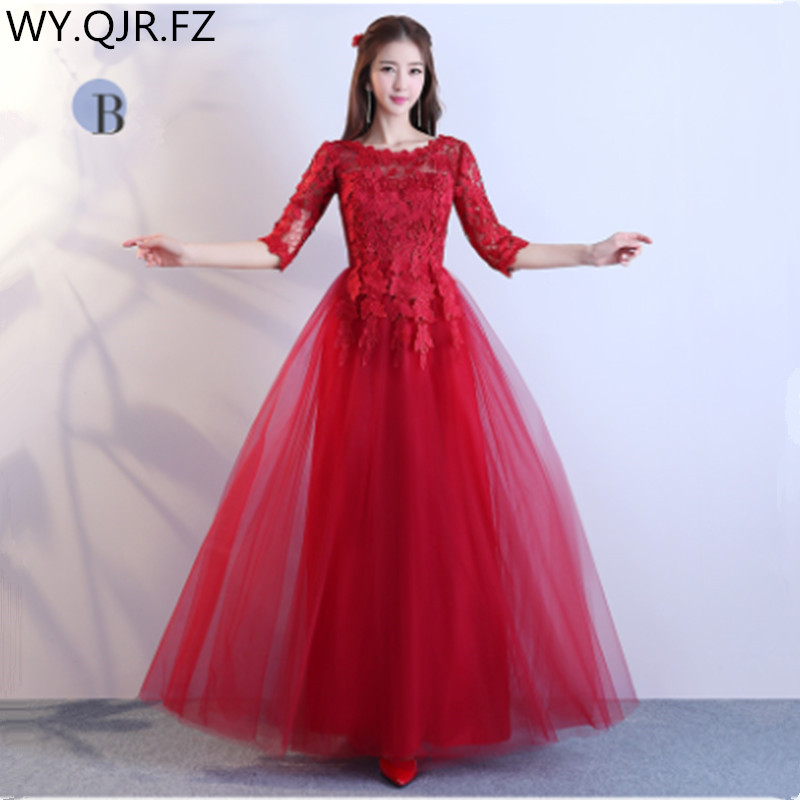 ABE125#Toast Bride 2019 New Winter Long Wine Red Bridesmaid Dresses Wedding Party Prom Dress Cheap Wholesale