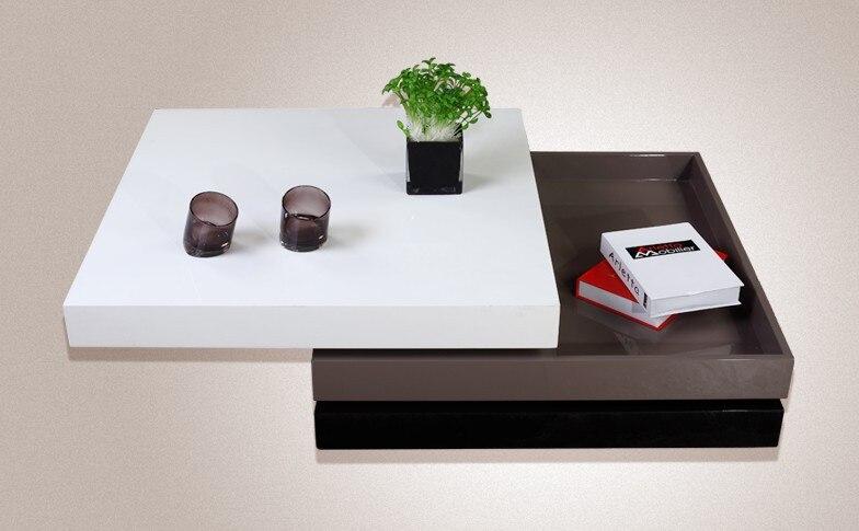 coffee table tea table modern design mdf specular paint stainless steel bracket rotate. Black Bedroom Furniture Sets. Home Design Ideas