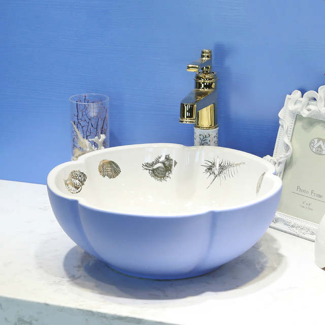 Flower Blue Luxury Bathroom Vanities