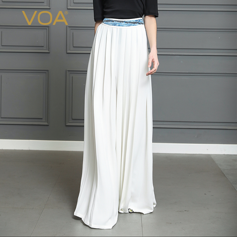 VOA Silk Palazzo Pants Women Maxi Long Wide Leg Trousers Loose White Office High Waist Casual Plus Size 5XL Hosen Damen K365