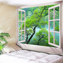 Nordic 3D Trees Tapestry Wall Hanging Bedroom Green Decorative Carpet Bohemian Hippie Blanket Yoga Mat Table Cloth 200x150