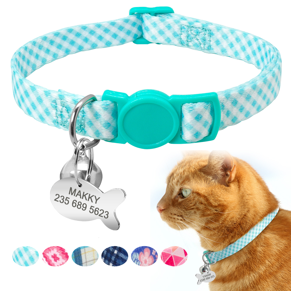 Custom Safety Cat Collar Personalized Cute Kitten Puppy Collars with Bell Name Tag Nylon Print Pet Cats Necklace Accessories image