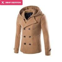 Top Design Men Woolen Jacket Coats Camel Detachable Hat Hoodie Homme Overcoat Fashion Autumn 3 Color Warm England Slim Pea Coat