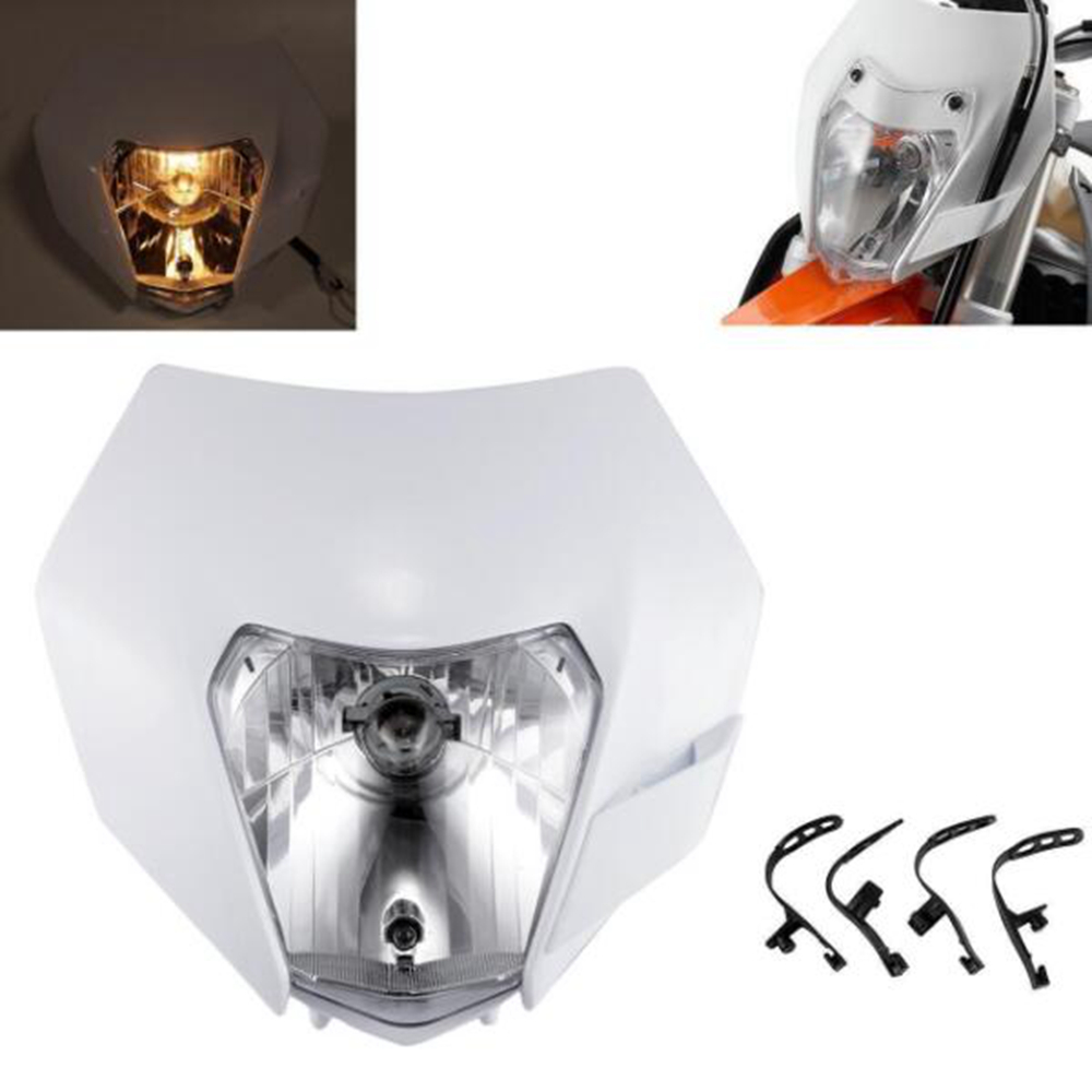 <font><b>Universal</b></font> White Motocross Headlamp Motorcycle <font><b>Dirt</b></font> <font><b>Bike</b></font> Supermoto <font><b>Headlight</b></font> Fairing For KTM EXC SX F XCF SMR image