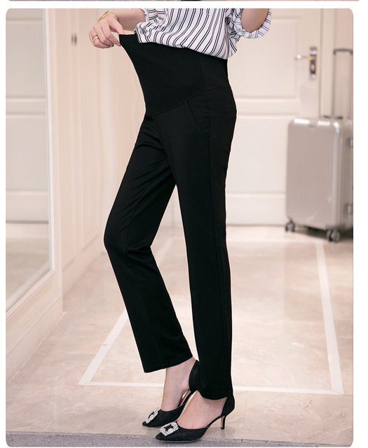 cc022e043c16a3 Pengpious 2019 Autumn professionalism pregnant women work pants abdomen  straight canister slacks maternity formal belly trousers