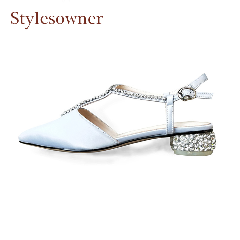 Stylesowner spring summer new satin pointed toe ladies single shoes luxury crystal stud t strap chunky low heel cozy work shoes mccarthy t satin island