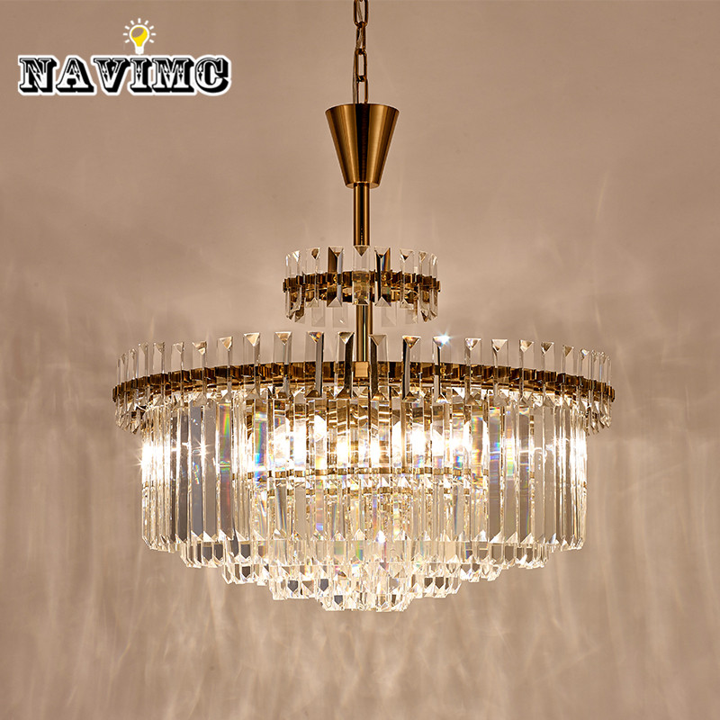 Post Modern LED Gold Crystal Chandelier Lighting For Living Room Bedroom Kitchen Dining Room Pendant Lamp