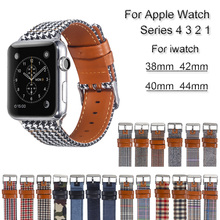 все цены на Canvas Leather Watch Band For Apple Watch 4 3 2 1 Bracelet Strap For iwatch 44mm 40mm 38mm 42mm loop Wrist Watchband Accessories онлайн
