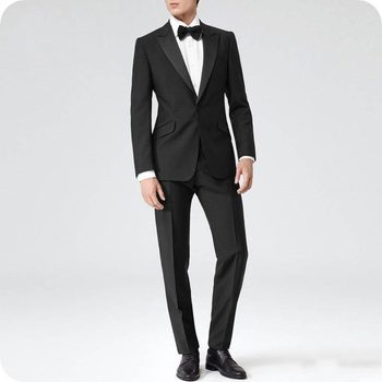 High Quality One Button Black Groom Tuxedos Peak Lapel Groomsmen Men Blazers Suits (Jacket+Pants+Tie) NO:452