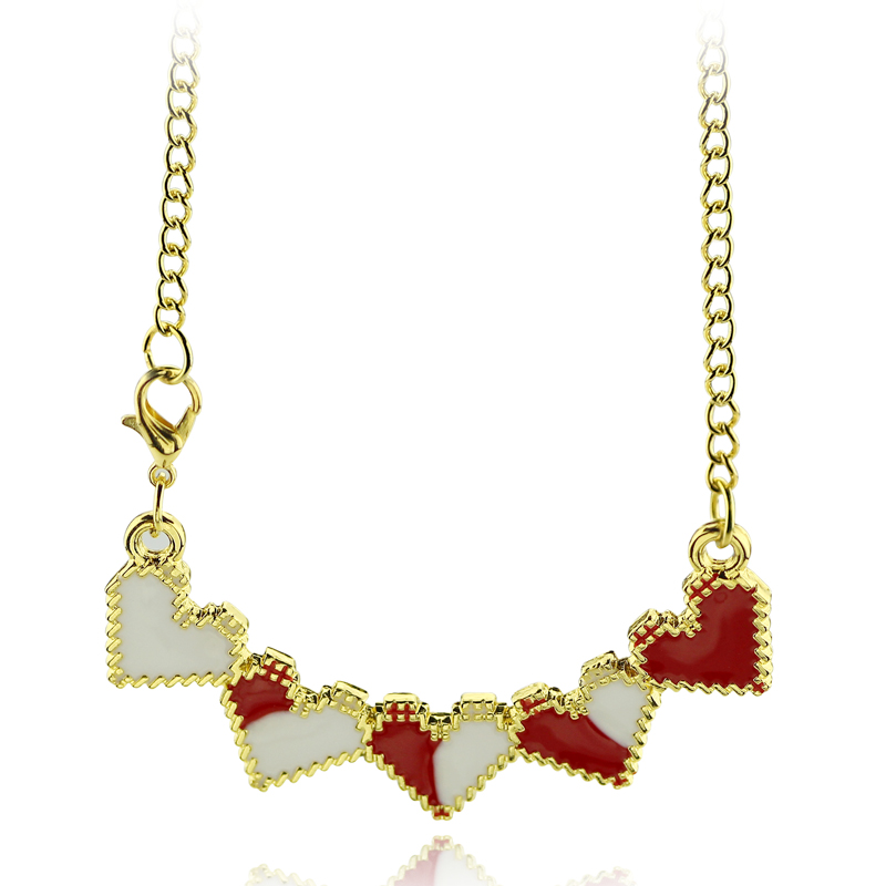 feimeng jewelry Suicide Squad Necklace Joker Quinn Five Hearts Pendant Necklace For Girls Fashion Choker Accessories