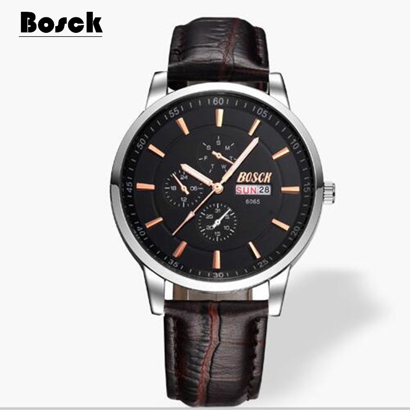 цена на BOSCK 6695 Clock Watches Women brand Fashion dress ladies Watches Leather Stainless women Steel Analog Luxury Wrist Watch