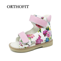 Lovely Baby Pink Cartoon Print Orthopedic Shoes Kids Girls High Quality Sandals With Hard Sole