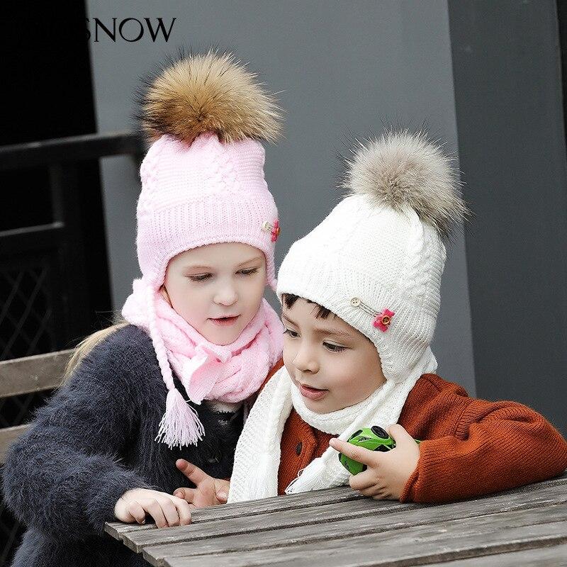 Diskret Kinder Winter Gestrickte Hut Kinder Ohr Schutz Gestrickte Hut Schal Mädchen Warme Mütze Haar Ball Pompom Stricken Wolle Kappe 2 Stücke B-9386