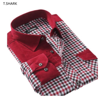 T.SHARK DXR-XX 2015 Fashion Men Black and White Plaid Long Sleeve Quality Casual Slim Patchwork Shirts Men Clothing China
