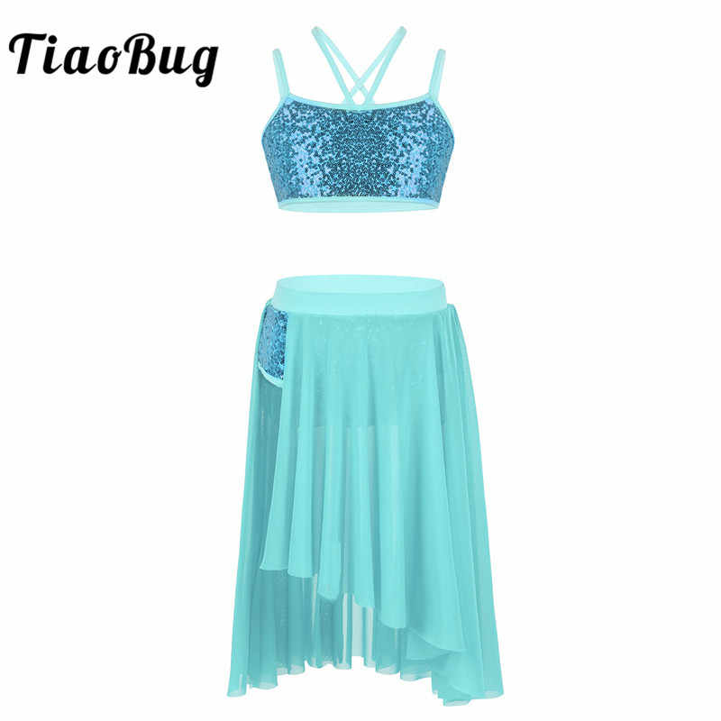 Girl Long Sleeve Dance Dress Tulle Lyrical Ballet X-back Crop Top+Long Skirt Set