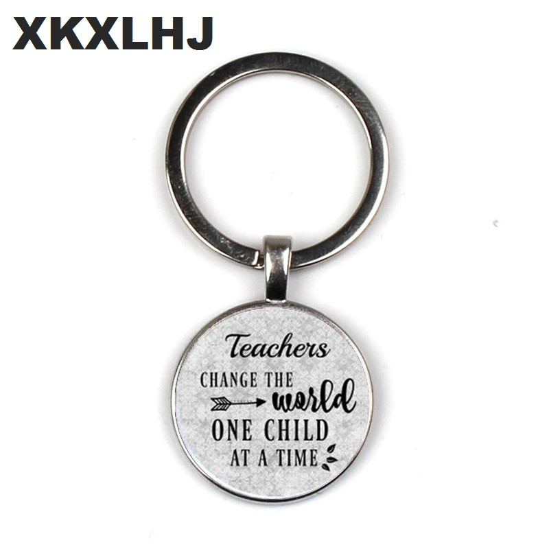 Teacher day care provider teacher charm keychain teacher appreciation gift teacher changing the world gift once a child in Key Chains from Jewelry Accessories