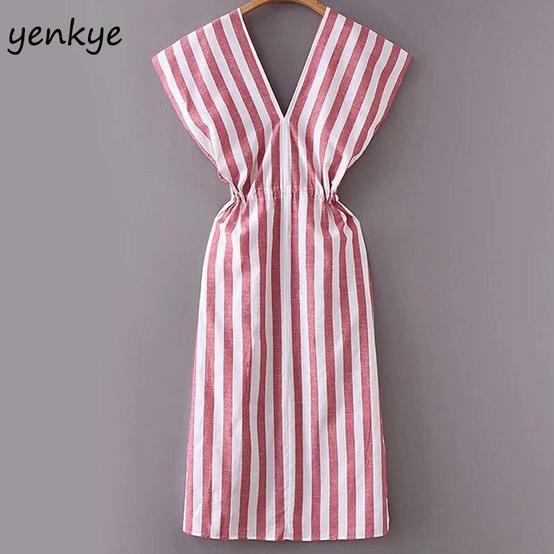 30f6782adfd Summer Dress 2018 Women Vintage Striped Linen Long Dress Female Sexy  Backless V Neck Drawstring Waist Casual Dress robe longue