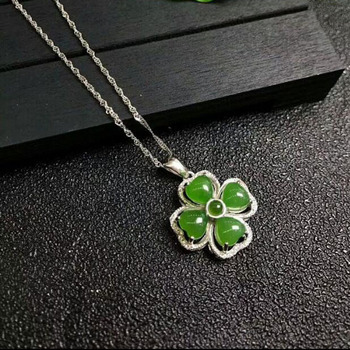 fine jewelry natural hetian jasper carved flower 925 silver inlay pendant lucky blessing necklace for women jade jewelry