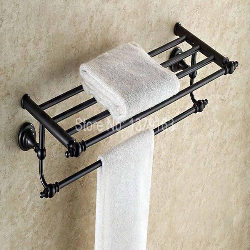 Bathroom Accessory Black Oil Rubbed Antique Brass Wall Mounted Bathroom Large Towel Rail Holder Storage Rack Shelf Bar aba821 whole brass blackend antique ceramic bath towel rack bathroom towel shelf bathroom towel holder antique black double towel shelf