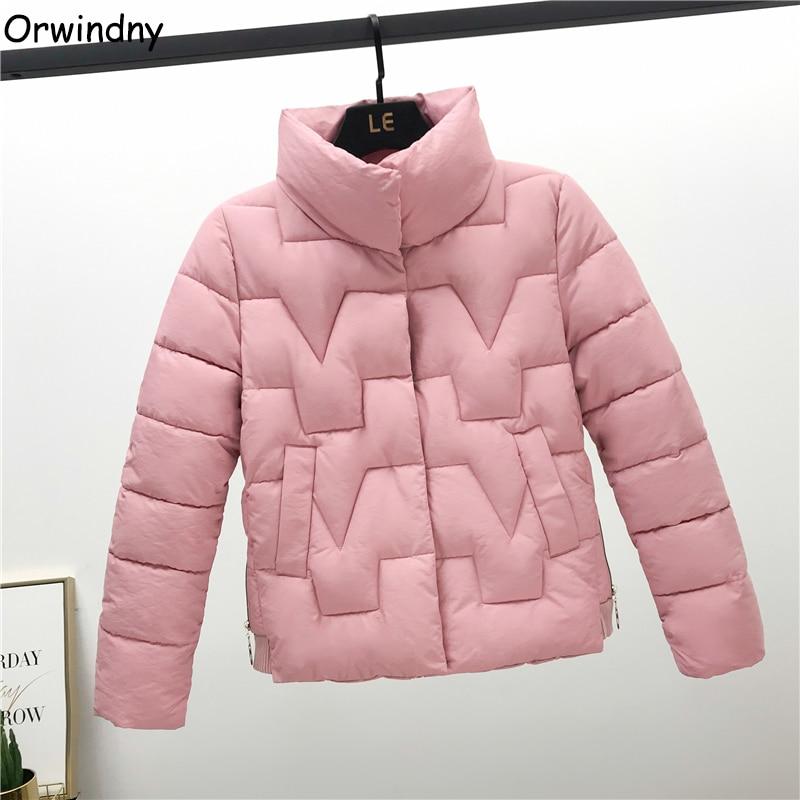Orwindny Autumn Winter Coat Women 2019 Stand Collar Short Women's Down Cotton Jacket Warm Female Jacket Sweet Pink Parka Girls