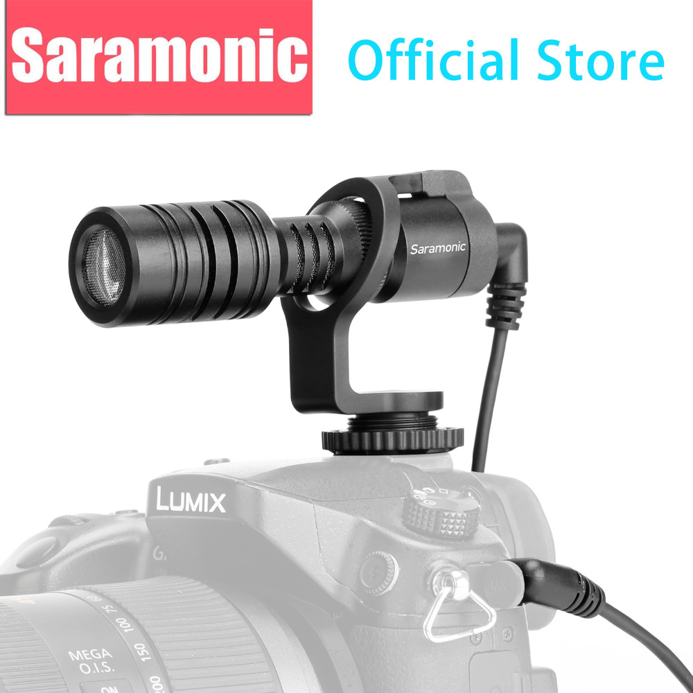 New Saramonic Vmic Mini Condenser Shotgun Microphone with TRS & TRRS Cable for iPhone 8 8 plus 7 Android Smartphones PC Tablet saramonic imic flexible condenser microphone mic with high sensitivity for ios ipad iphone 5 6 7 ipod touch android smartphone
