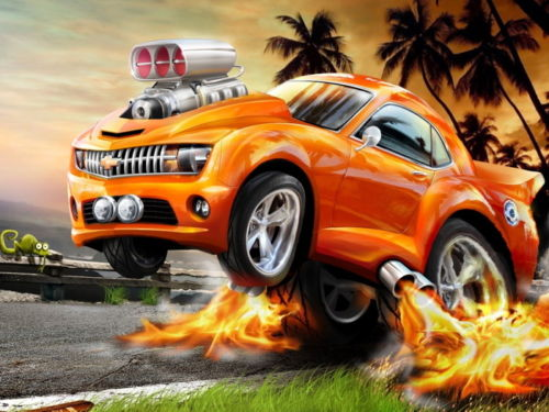 4855 Hot Wheels Chevy Art Car Flames Painting Wall Sticker Art Poster For Home  Decor