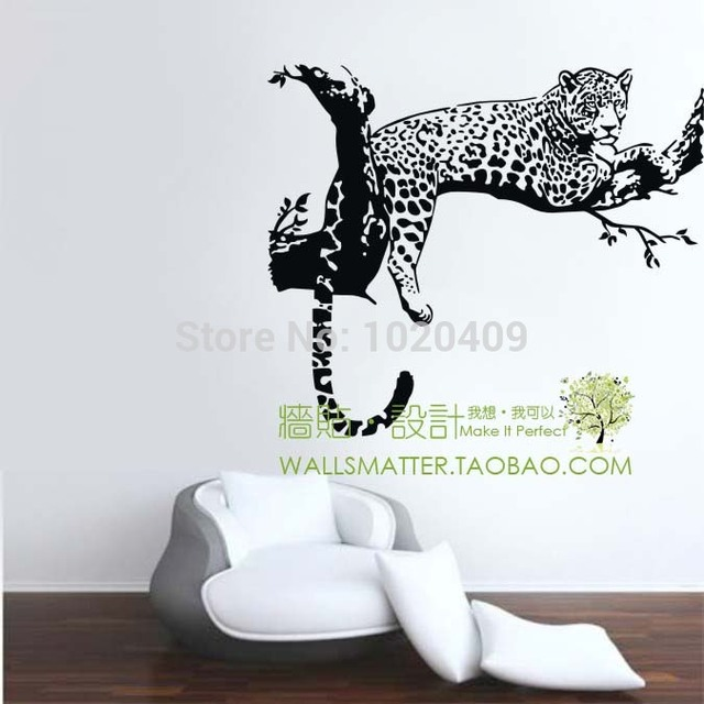 High quality wall decal stickers home decor animal pvc vinyl paster removable art mural leopard print