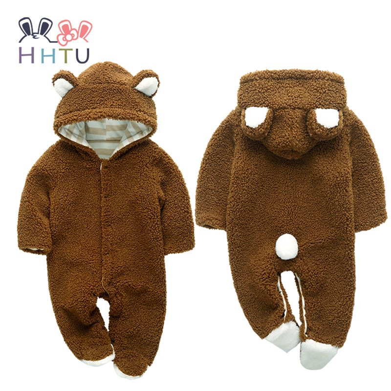 HHTU Long sleeve Fleece Romper with Tail Cute Winter Warm Infant Baby Romper Cartoon Jumpsuit Boys