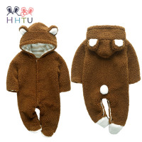 HHTU Longsleeve Fleece Romper With Tail Cute Winter Warm Infant Baby Romper Cartoon Jumpsuit Boys Girls