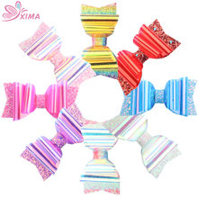 XIMA 8 шт./лот 3,5 дюймов яркие цвета Бабочка для волос с блеском с зажимом детские ПВХ красочные банты шпильки для детских волос заколки аксессуары для волос