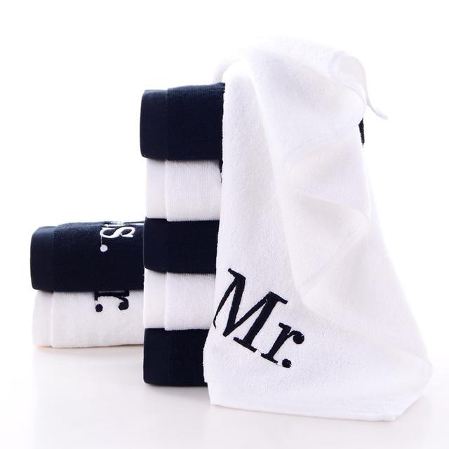 100% Cotone Mr & Ms Super Confortevole di Lusso in Bianco E Nero di Grandi Dimen