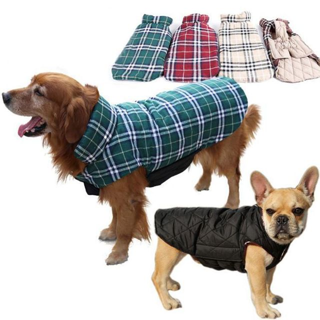 Dog Clothes Waterproof Reversible Dog Jacket Designer Warm Plaid Winter Dog Coats Pet Clothes Small to Large