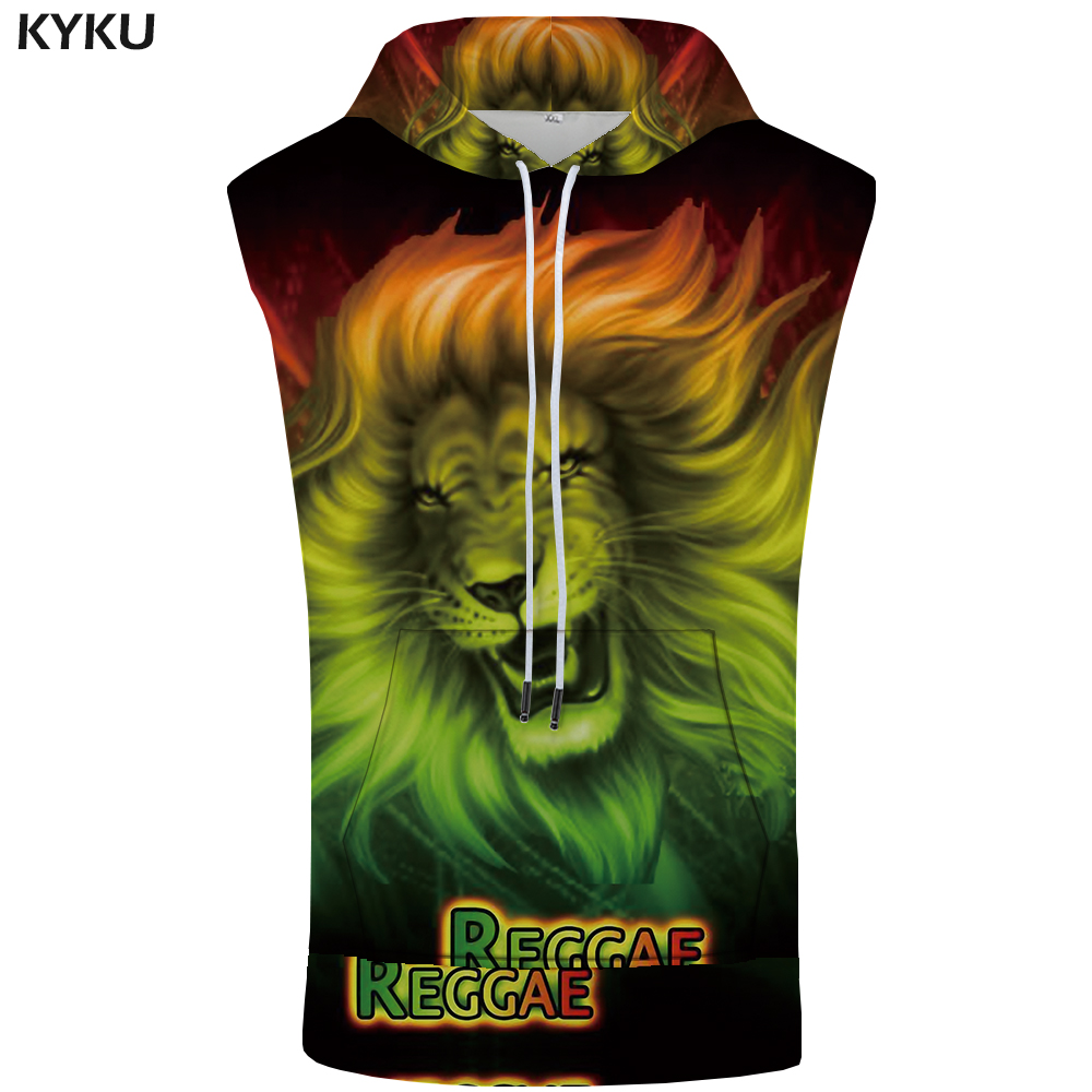 KYKU Lion Hooded   Tank     Top   Men Colorful Vest Fitness Fire 3d Printed Sleeveless Sweatshirt Stringer Casual Animal Mens Clothing