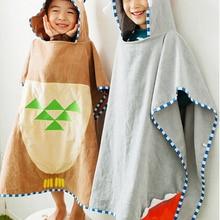 2 цвета, Детские пончо с изображением серого быка и коричневой совы, Детские банные полотенца с капюшоном, детская пляжная одежда