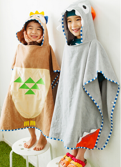 2 Colors Character Grey Bull And Brown Owl Baby Ponchos/Hood /Children's Hood Bath Towels/Kids Beach Clothes