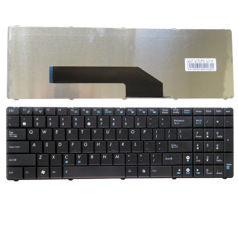 GZEELE NEW English US Laptop Keyboard For ASUS K70 K70A K70AB K70AC K70AD K70AE K70AF K70I K70IC K70ID K70IJ K70IL K70IO Black