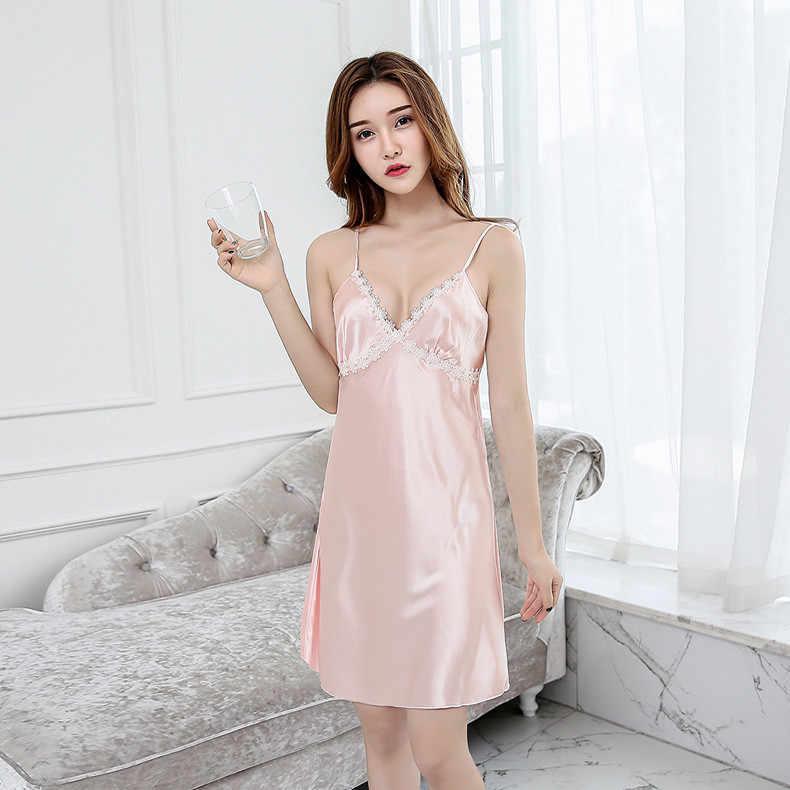 12fbf62a944 ... Summer Sexy Women Satin Robe Lady Bathrobe Chinese Girl Nightgown  Sleepwear Strap Nightie Nightdress LACE Flower ...