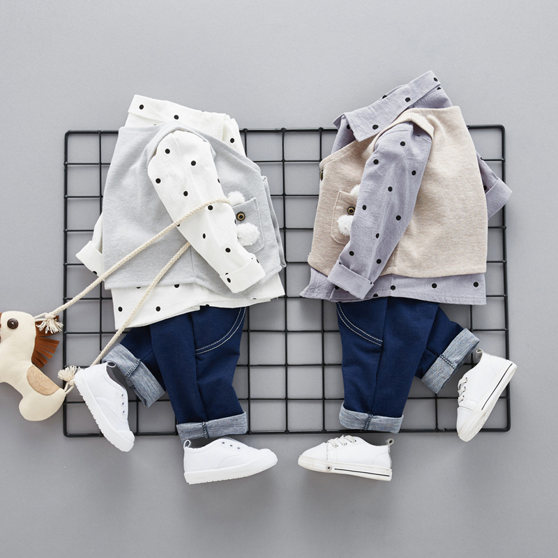 Детская одежда весна осень ткань мальчиков наборы ткань долго рукав случайный Идея футболка три шт устанавливает для мальчиков ткань костю...