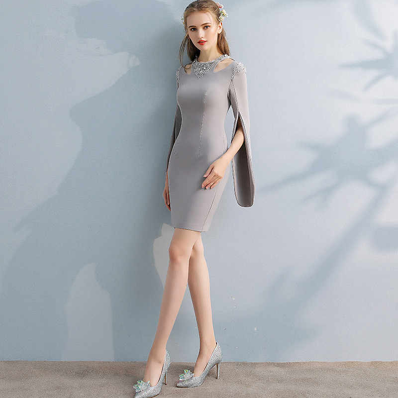 78d003a3a500 ... It's YiiYa Elegant Gray Full Cap Sleeve Cut-out Sequined Cocktail  Dresses Knee Length Formal ...
